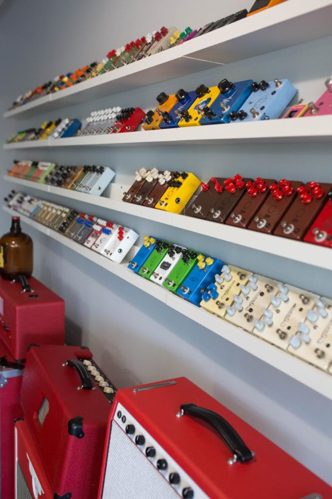 JHS Pedals Showroom Shelves